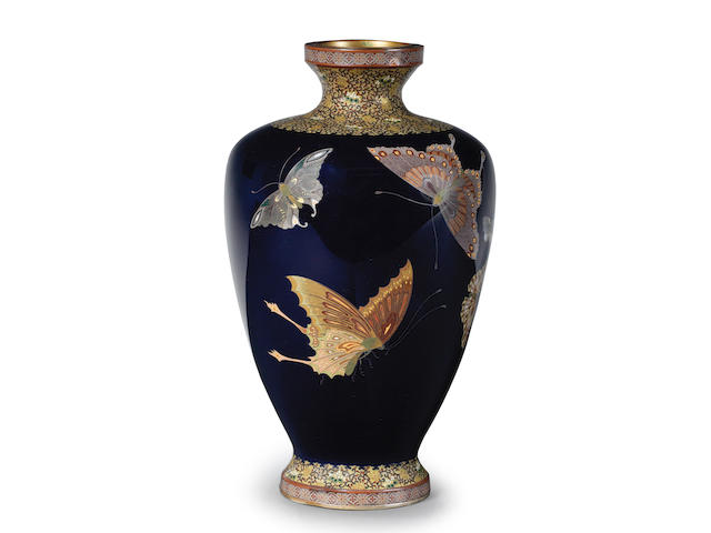 A baluster cloisonné-enamel vase  By Ota Shunjiro (Tamura I, 1864-1931), Meiji (1868-1912) or Taisho (1912-1926) era, late 19th/early 20th century