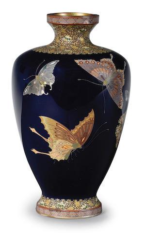 A baluster cloisonné-enamel vase  By Ota Shunjiro (Tamura I, 1864-1931), Meiji (1868-1912) or Taisho (1912-1926) era, late 19th/early 20th century
