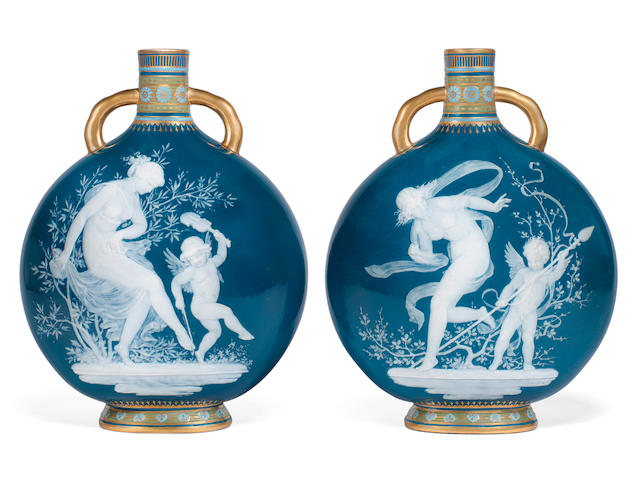 A fine pair of Minton pâte-sur-pâte moon flasks by Louis Solon, circa 1900