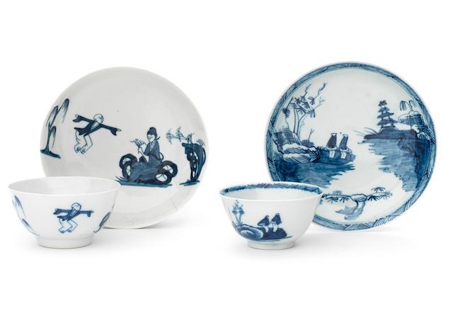 Three Richard Chaffers teabowls and saucers, circa 1758-60