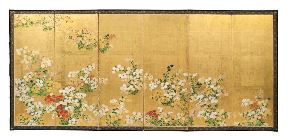 A PAIR OF SIX-PANEL FOLDING SCREENS DEPICTING AUTUMN PLANTS Edo period (1615-1868), 19th century (2)