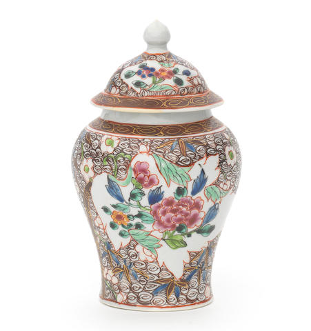 A rare Chaffers vase or tea canister and cover, circa 1758-60