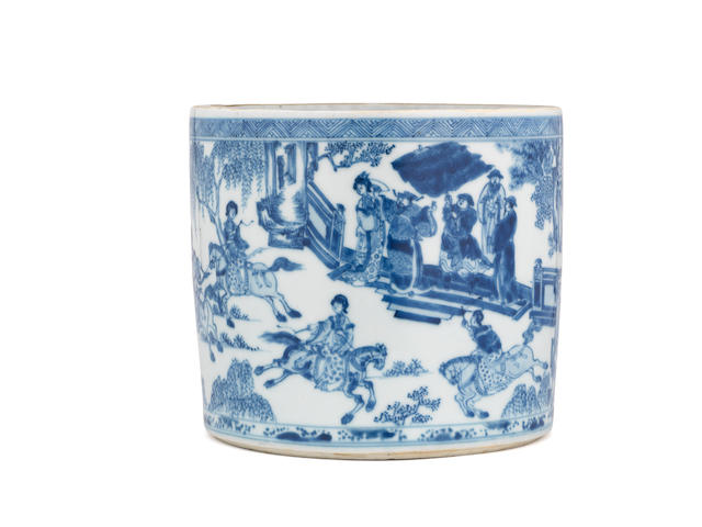 A rare blue and white brush pot, bitong Early Kangxi