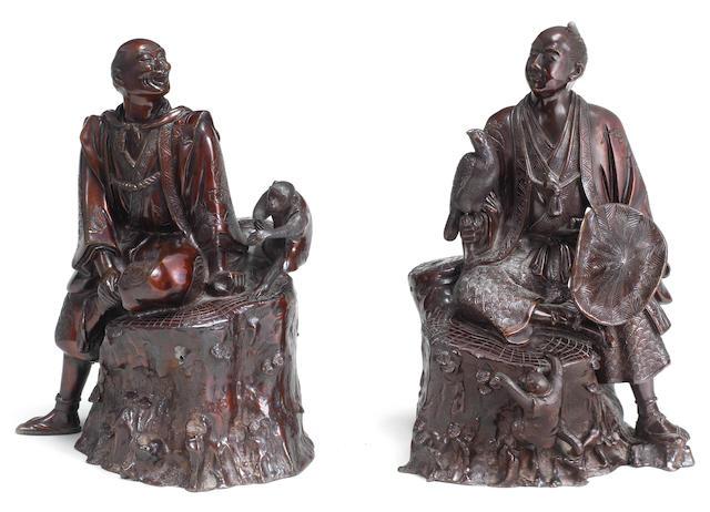 Two bronze okimono of figures Meiji era (1868-1912), late 19th/early 20th century  (2)