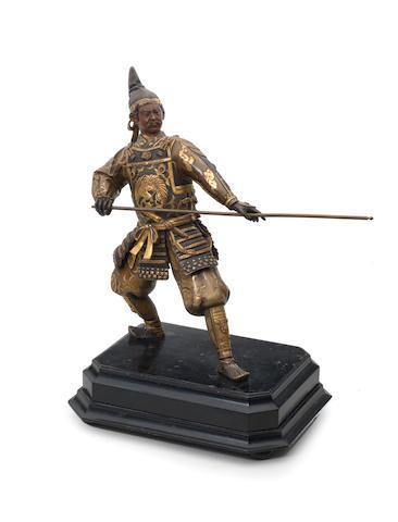 A gilt-bronze figure of a warrior  Meiji era (1868-1912), late 19th/early 20th century (2)