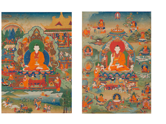 Two rare thangkas of Lamas and the Life of Buddha Eastern Tibet, 18th century (2)
