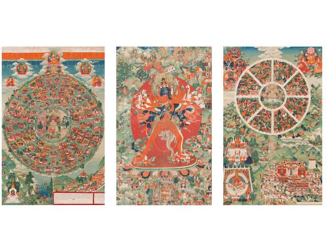An exceptionally rare complete set of thangkas of Kalachakra Tibet, circa 1780 (3)