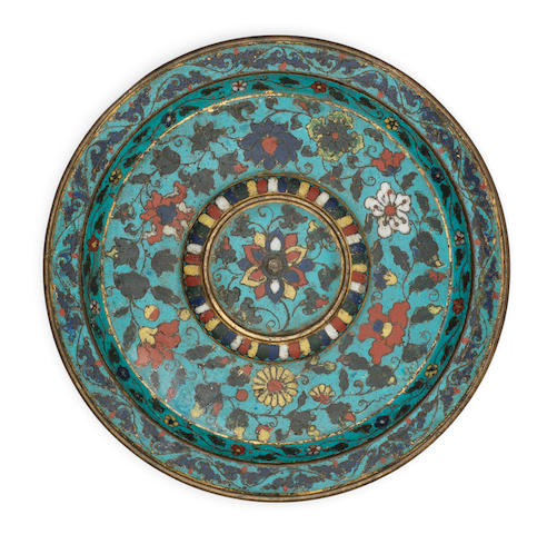 An exceptionally rare cloisonné enamel cup stand Incised and blue-enamelled Xuande six-character mark and of the period