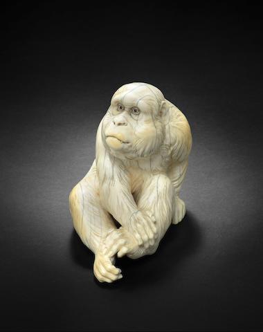 An ivory okimono of a monkey  By Ishikawa Komei (1852-1913), Meiji era (1868-1912)