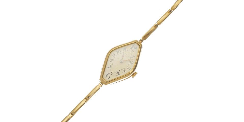A lady's 18K gold manual wind bracelet watch Circa 1920