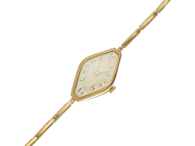 A lady's 18K gold manual wind bracelet watch Circa 1920