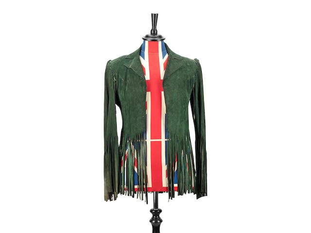Brian Jones: a bespoke green suede fringed jacket by Ossie Clark,  1969,