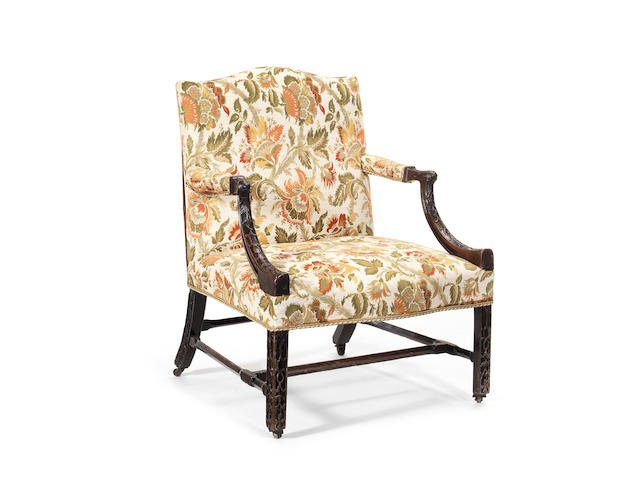 A George III mahogany library chair
