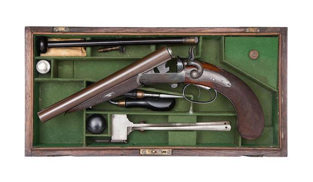 A Cased Irish 25-Bore (.577) Centre-Fire D.B. Breech-Loading Side-Lever Howdah Pistol