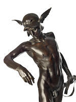 Sir Alfred Gilbert R.A. (English, 1854-1934): A rare large bronze figure of 'Perseus Arming'