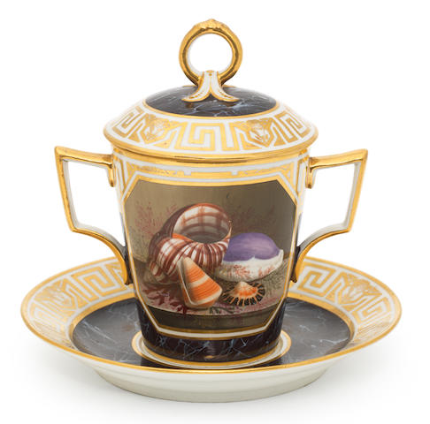 A fine Flight and barr cabinet cup, cover and stand, circa 1804
