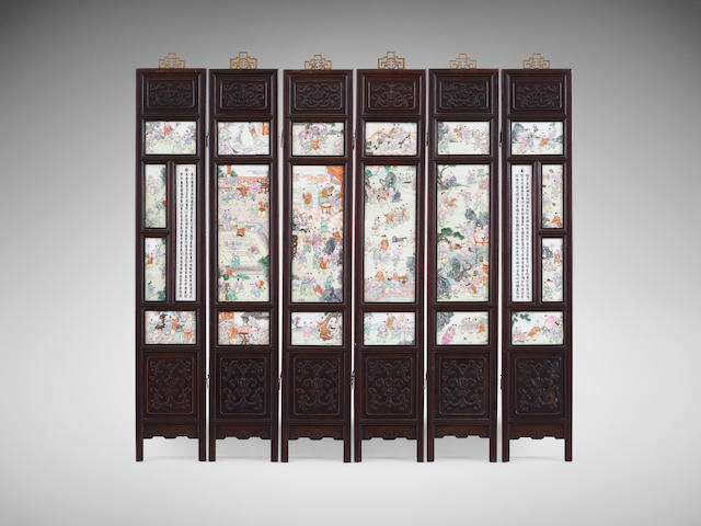 A Chinese carved hongmu six-fold screen with ceramic-plaque insets Dated by inscription 1831, with possibly later parts  (6)
