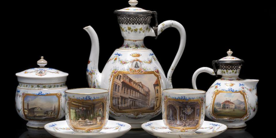 A rare Imperial porcelain presentation tête-à-tête service Imperial Porcelain Factory, period of Alexander II, about 1866