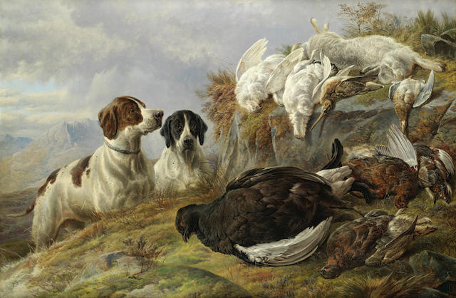 Charles Jones, RCA (British, 1836-1892) Two pointers with dead game in a highland landscape