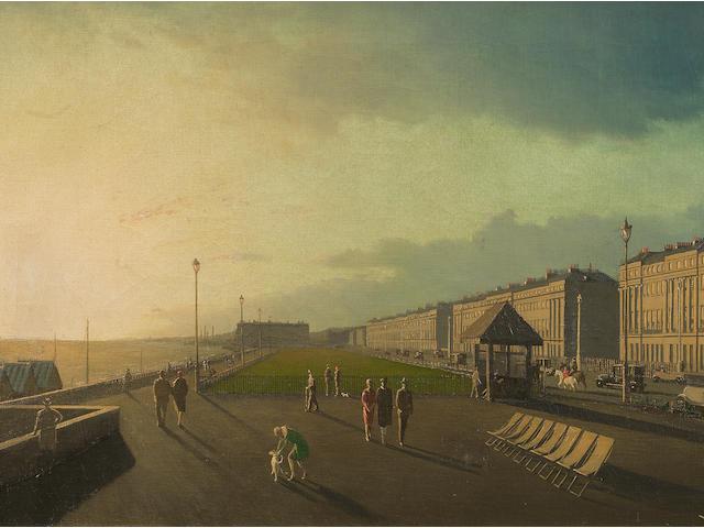 Algernon Cecil Newton R.A. (British, 1880-1968) Sunset, Hove 40.6 x 76.2 cm. (16 x 30 in.)