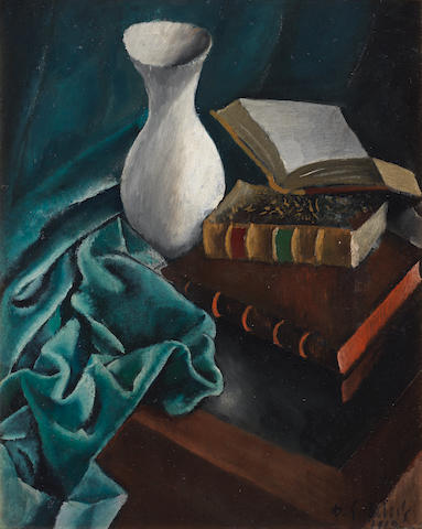 Dimitrios Galanis (Greek, 1880-1966) Still life with book 62 x 50 cm.