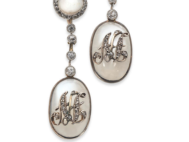 A pair of 19th century moonstone and diamond earrings