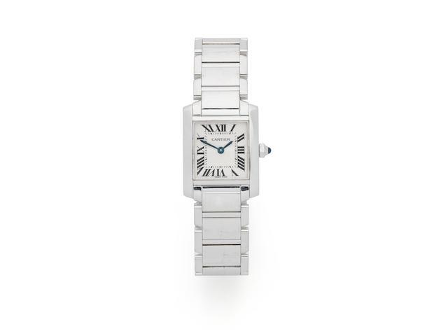 Cartier. A lady's 18K white gold quartz bracelet watch  Tank Francaise, Ref: 2403, Circa 2005