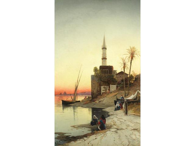 Hermann David Salomon Corrodi (Italian, 1844-1905) The Nile at sunset
