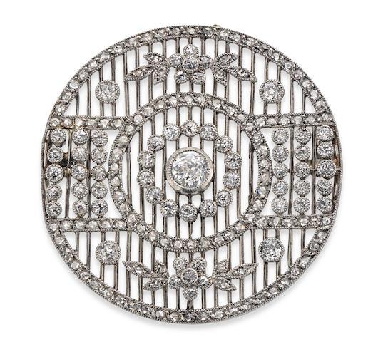 A diamond brooch, circa 1910