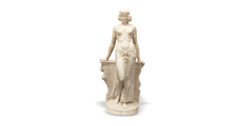 Professor F. Saul, possibly Saul Fanfani (Italian, 1856-1919): A sculpted alabaster figure of an exotic Egyptian dancer circa 1910-20