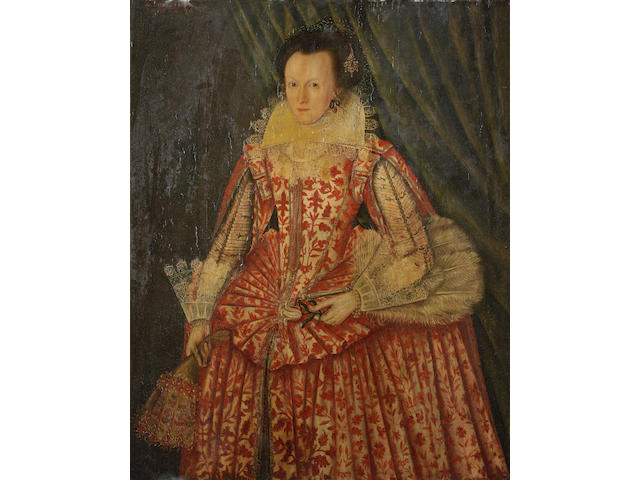 English School, 1617 Portrait of a lady, three-quarter-length, in a red and white dress, holding gloves and a fan