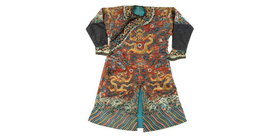 A Chinese brown-ground 'nine dragon' embroidered silk robe, jifu 19th century
