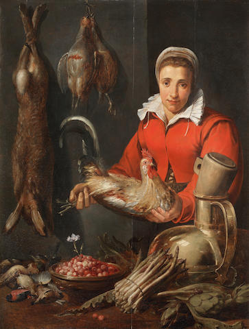 Frans Snyders (Antwerp 1579-1657), and studio A kitchen maid holding a cockerel, with game, asparagus, artichokes, kitchen utensils and a bowl of fraises de bois on a table