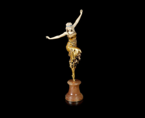 Paul Philippe 'Russian Dancer' a Large Size Art Deco Carved Ivory and Gilded-Bronze Model, circa 1925