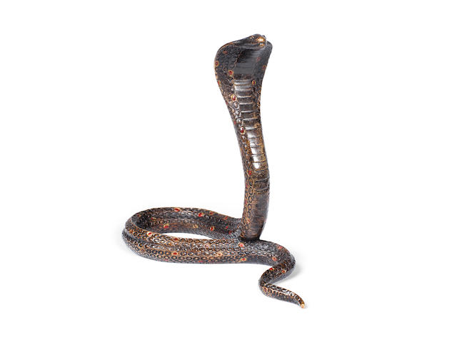 Jean Dunand  A Patinated and Cold-Painted Bronze Model of a Cobra, circa 1925