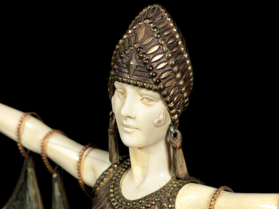 demetre chiparus 'Semiramis' a Fine Art Deco Craved Ivory and Patinated Bronze Model of the Babylonian Queen, circa 1925