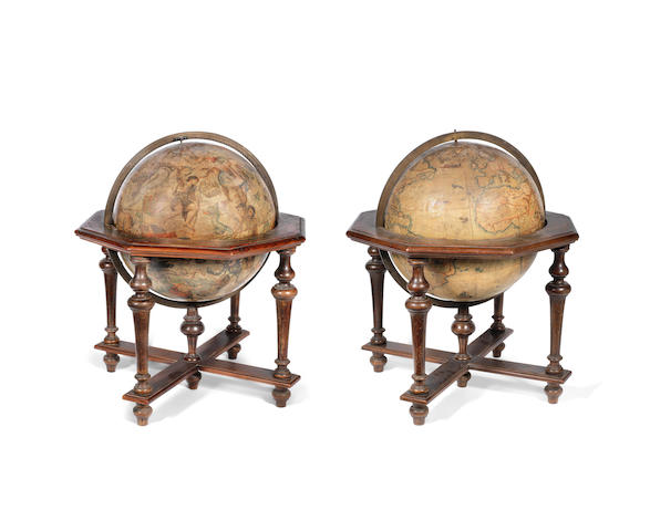 A RARE PAIR OF VINCENZO CORONELLI 18 1/2-INCH TERRESTRIAL AND CELESTIAL GLOBES on stands, ITALIAN, PUBLISHED 1696, (2)