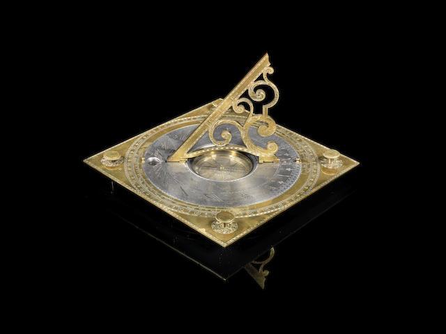 A magnificent Richard Glynne gilt and silvered brass horizontal sundial, English,  circa 1725,