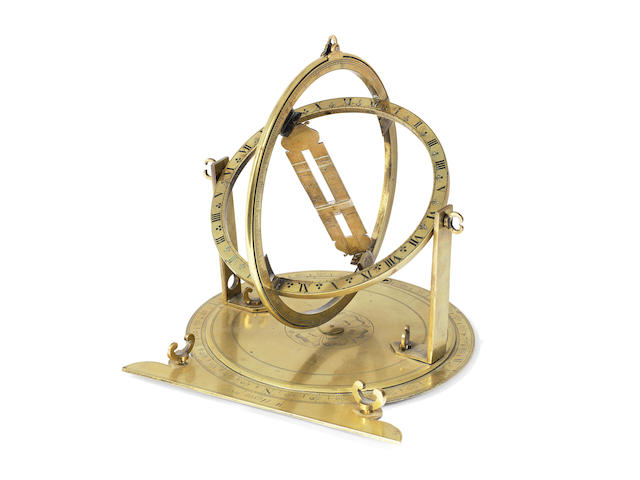 A Walter Hayes brass universal equinoctial ring dial combined with a surveying plate,   English,  third quarter of the 17th century,