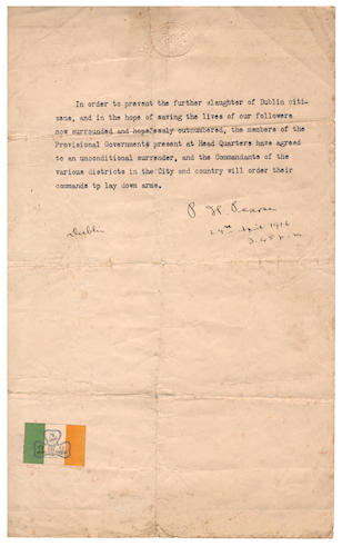 "IRELAND –  PATRICK PEARSE & THE EASTER RISING The Order of Surrender, typed and signed (""P. H. Pearse"") and dated (""29th April 1916/ 3.45 p.m."")"
