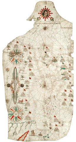 "PORTOLAN CHART Portolan chart of the Mediterranean, centred on Sicily, extending from Holy Land to Northern Africa, the length of the Mediterranean to South West England and Wales, MANUSCRIPT ON VELLUM, captioned beneath roundel ""[Placidus Cal]oiro et Oliva Fecit in Nobili urbe Messanae ano 1637"""