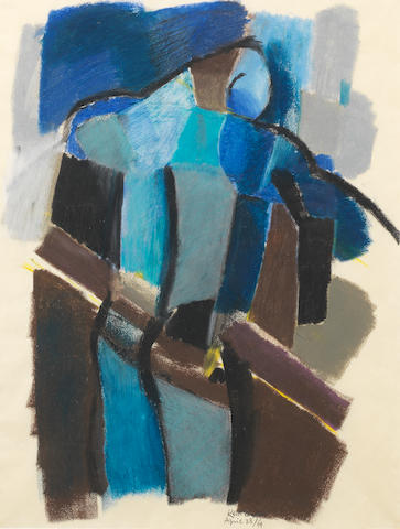 Keith Vaughan (British, 1912-1977) Figure: April 23 43.8 x 34.9 cm. (17 1/4 x 13 3/4 in.)