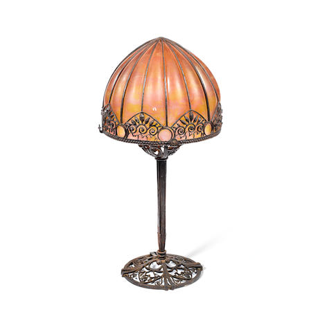 Raymond Subes and Daum An Art Deco Wrought Iron and Coloured Glass Table Lamp, circa 1925