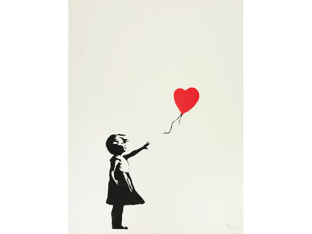 Banksy (British, born 1975) Balloon Girl Screenprint in black and red, 2004, on wove paper, signed, dated and numbered 22/150 in pencil, printed and published by Pictures on Walls, London, with their blindstamp, the full sheet, in good conditionSheet 657 x 499mm.