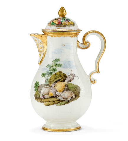 A very rare Capodimonte hot water jug and cover, circa 1750
