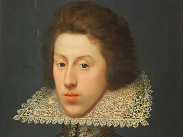 William Larkin (London circa 1580-1619) Portrait of Thomas Pope, later 3rd Earl of Downe, bust-length, in a white tunic embroidered with gold and a yellow lace collar