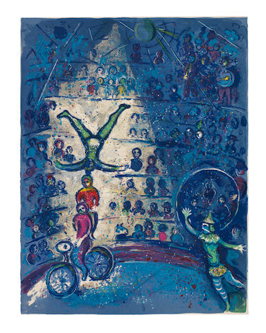 Marc Chagall (Russian/French, 1887-1985) Le Cirque The portfolio, comprising the complete set of 38 lithographs (23 in colours and 15 in black), 1957, on Arches wove paper, in- and hors-texte, with title page and justification, text in French, signed in pencil on the justification, copy number 197 of 250, published by Tériade Editeur, Paris, the full sheets, loose (as issued), the colours very fresh and vibrant, in very good condition, within original paper wrapper with title and cream cloth-covered portfolio with gilt lettering on the spine and matching slipcaseOverall 451 x 343mm.