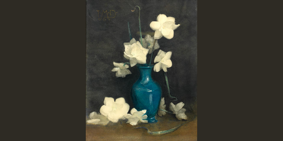 Thomas Millie Dow RSW (British, 1848-1919) Still Life of White Roses in a Blue Vase 40 x 32 cm. (15 11/16 x 12 9/16 in.)