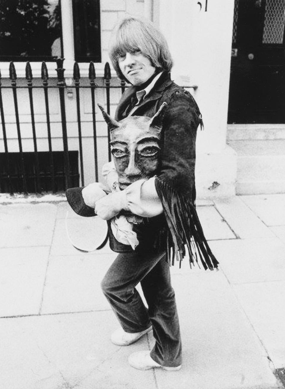 Brian Jones: a bespoke green suede fringed jacket by Ossie Clark,  1969,