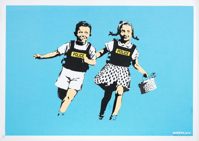 Banksy (British, born 1975) Jack and Jill (Police Kids) Screenprint in colours, 2005, on wove paper, signed, dated and numbered 290/350 in pencil, published by Pictures on Walls, London, with their blindstamp, the full sheet, in good conditionImage 450 x 650mm., Sheet 500 x 698mm.